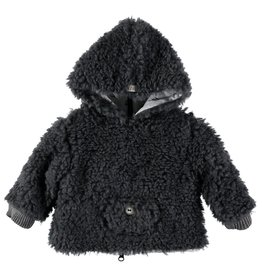 Búho. Leo fur hood jacket grey