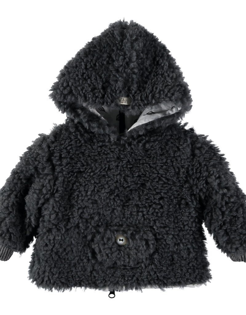 Búho. Leo fur hood jacket grey