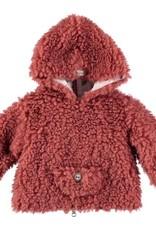 Búho. Leo fur hood jacket rose dawn