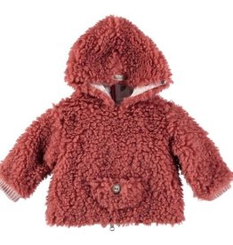 Búho. Leo fur hood jacket rose dawn