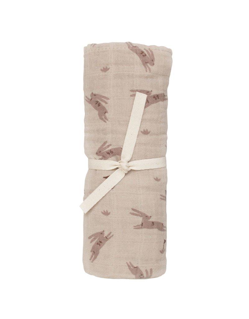 Main sauvage Muslin cloth, rabbits / 70 x 70 cm