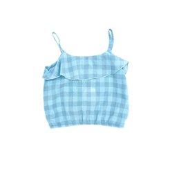 Long Live The Queen ruffle top blue check