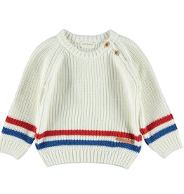 Piupiuchick Knitted sweater off-white and 2-color striped