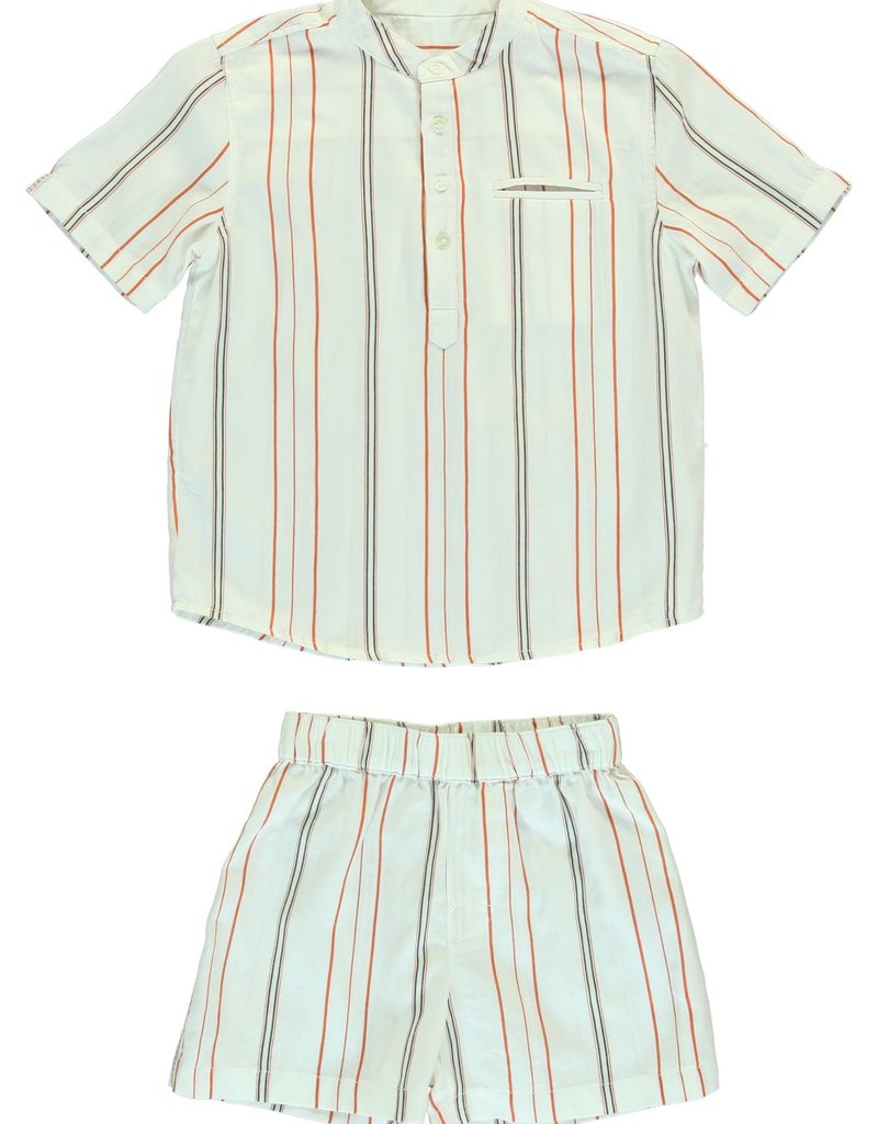 Dorélit Acamar and Mars woven stripe chili pyjama