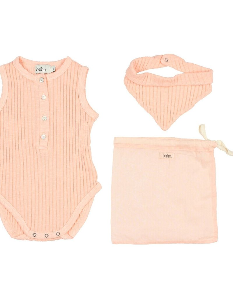 Búho. Set holiday baby romper blush pink