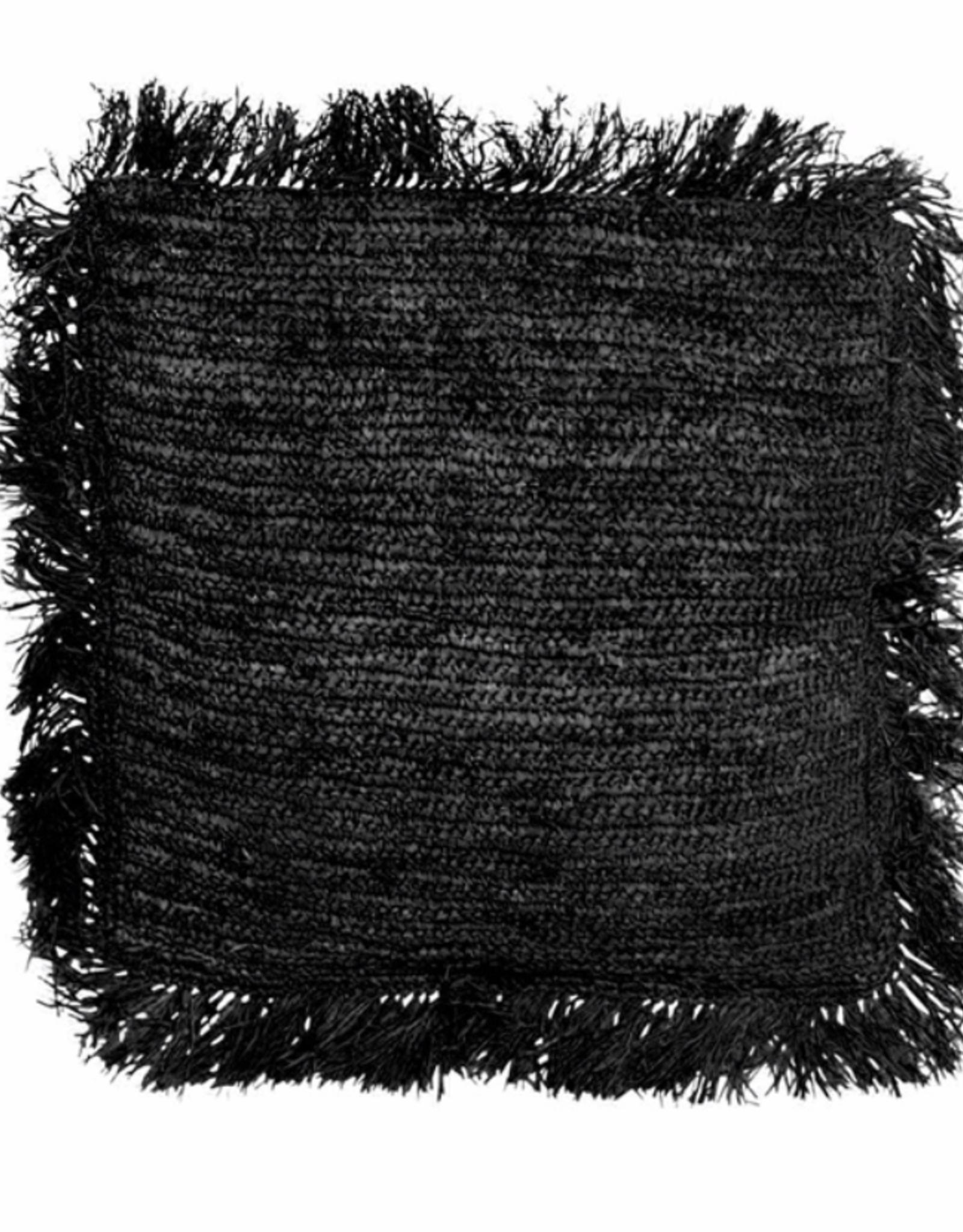 Bazar Bizar Raffia Kussen Zwart Vierkant L