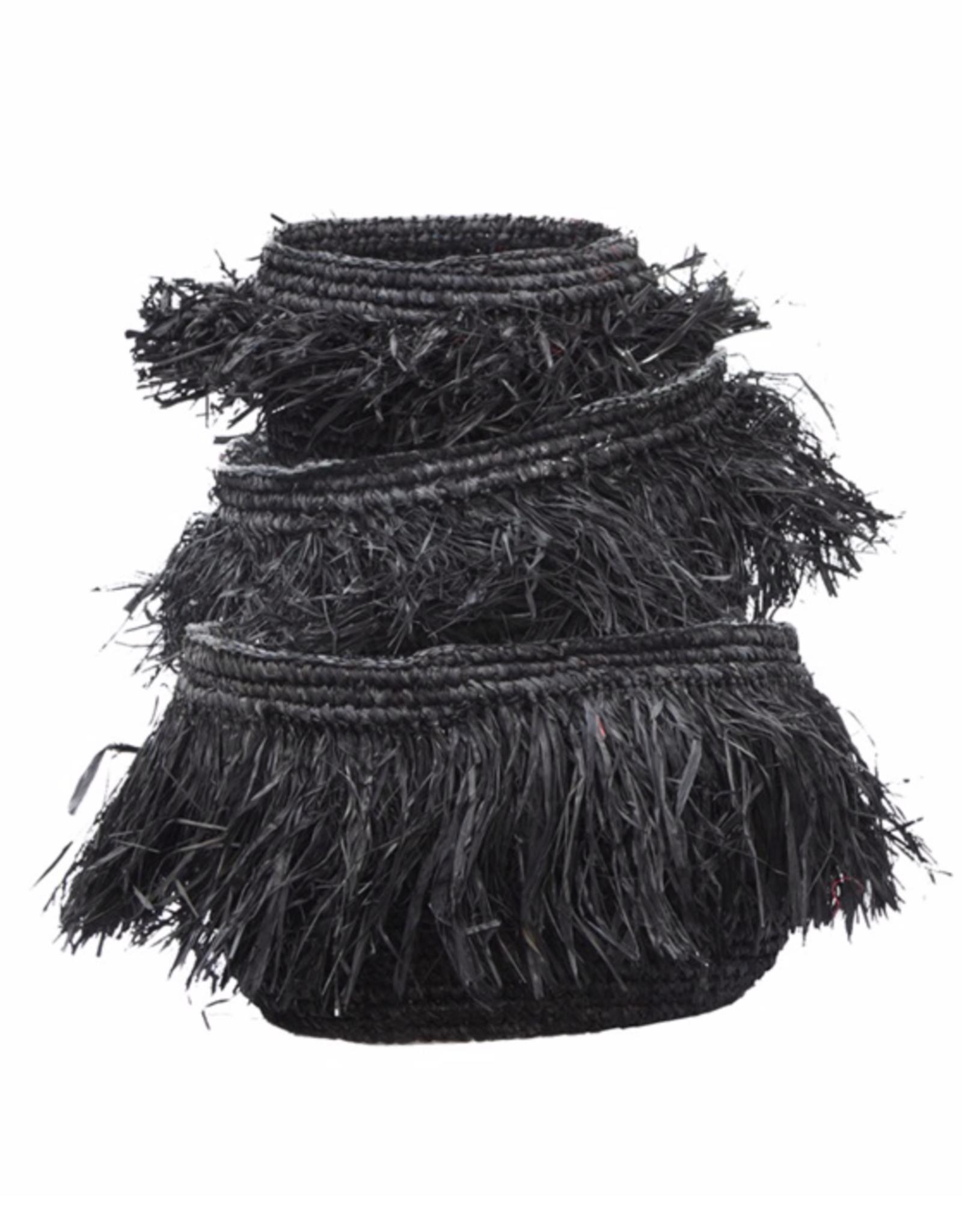 Bazar Bizar Raffia Manden Set (3) Zwart