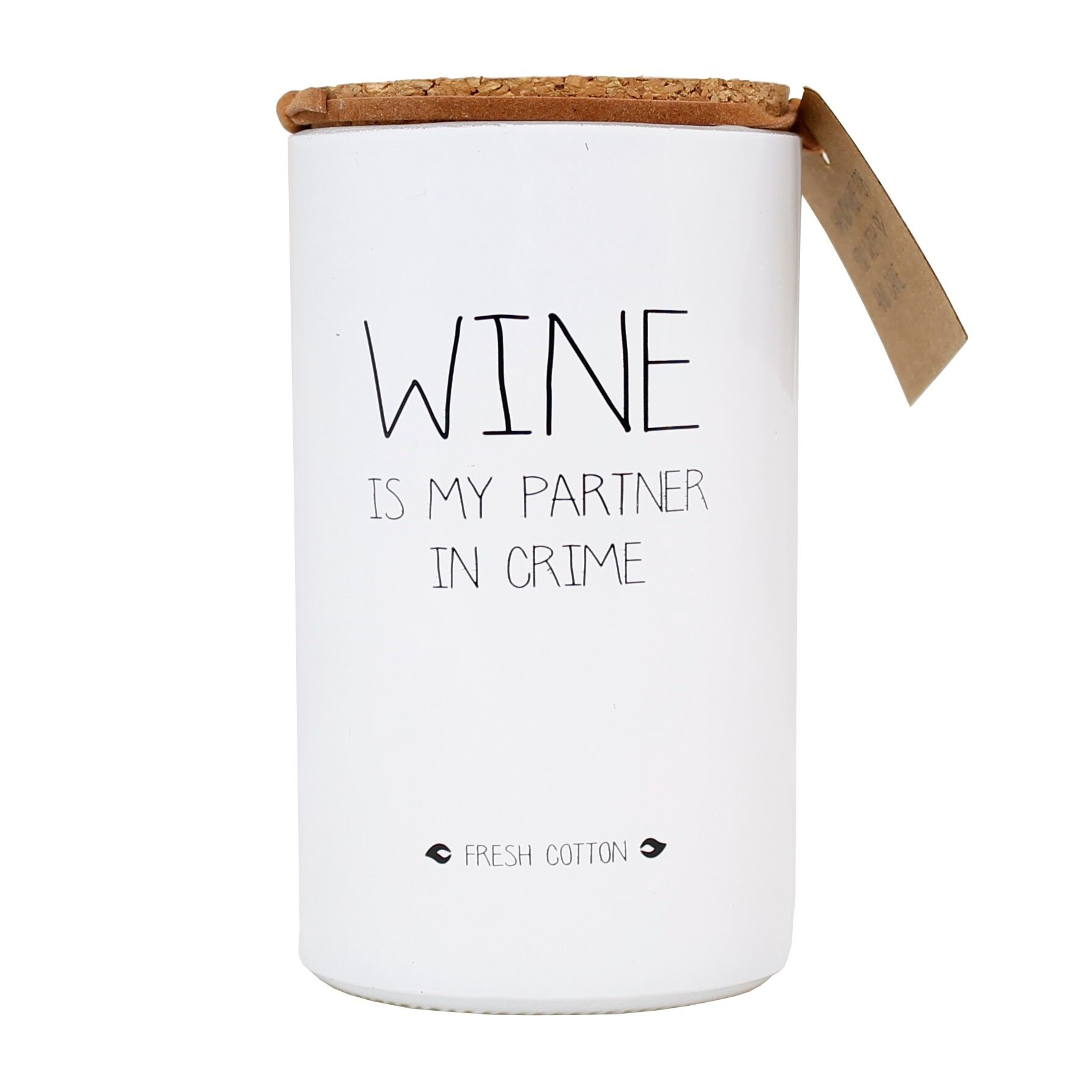 Bio Sojakaars - WINE IS MY PARTNER IN CRIME - Geur Fresh Cotton-1