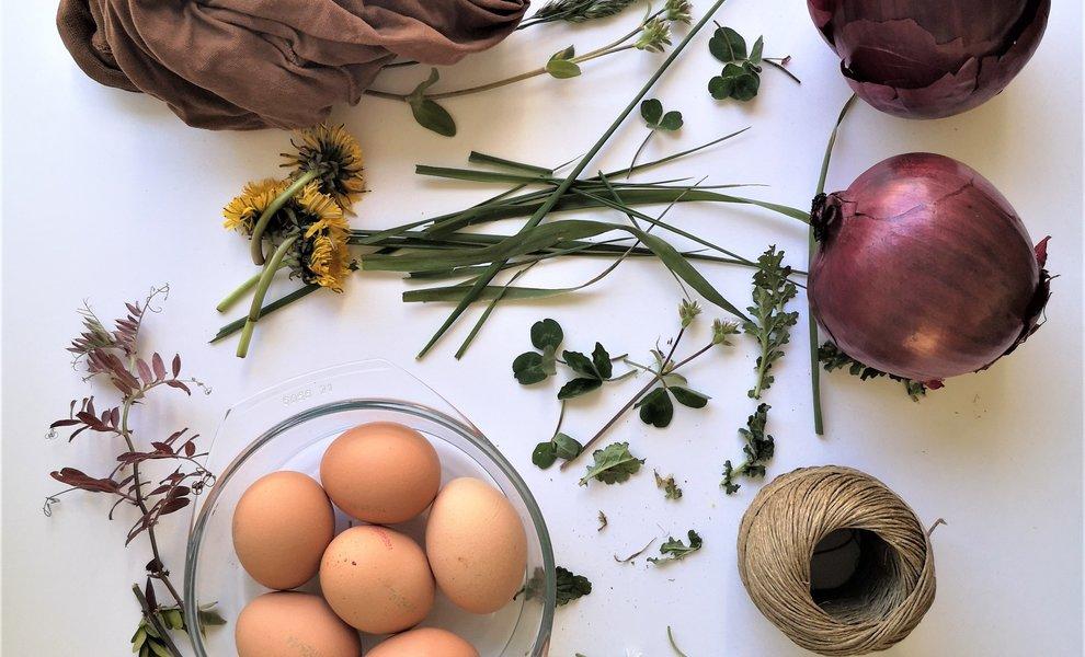 Natuurlijke gekleurde eitjes en een duurzaam verrassingsei.