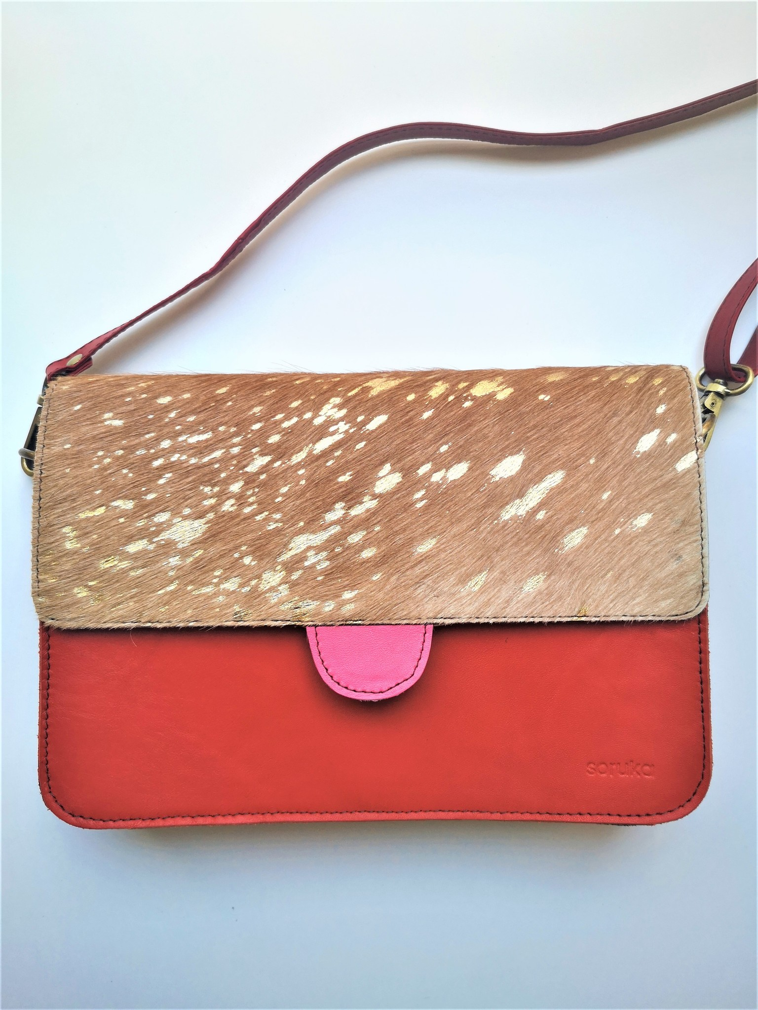 Leather Bag SQ Medium Red Gold-2