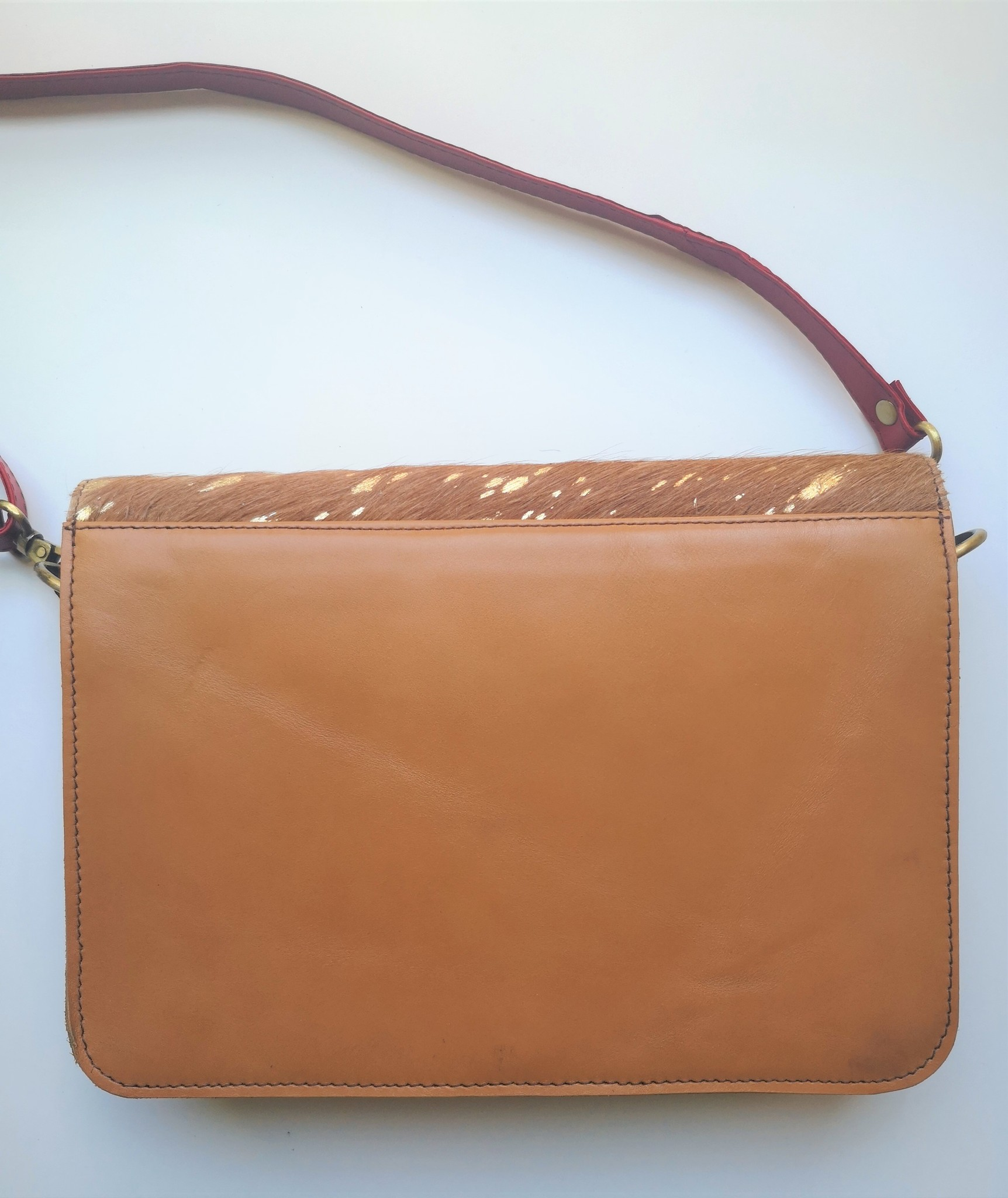 Leather Bag SQ Medium Red Gold-3
