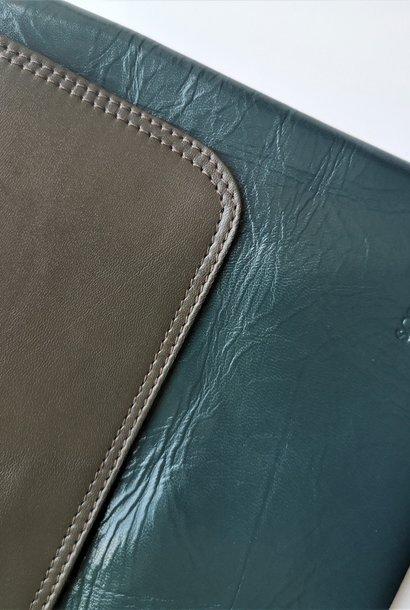 Yvette Plane Leather PETROL / GRAY Large