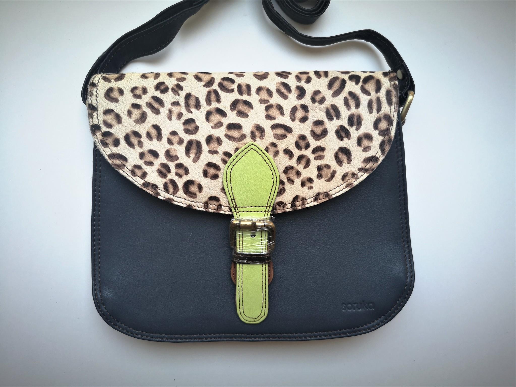 Leather Bag Round Dark Blue-2