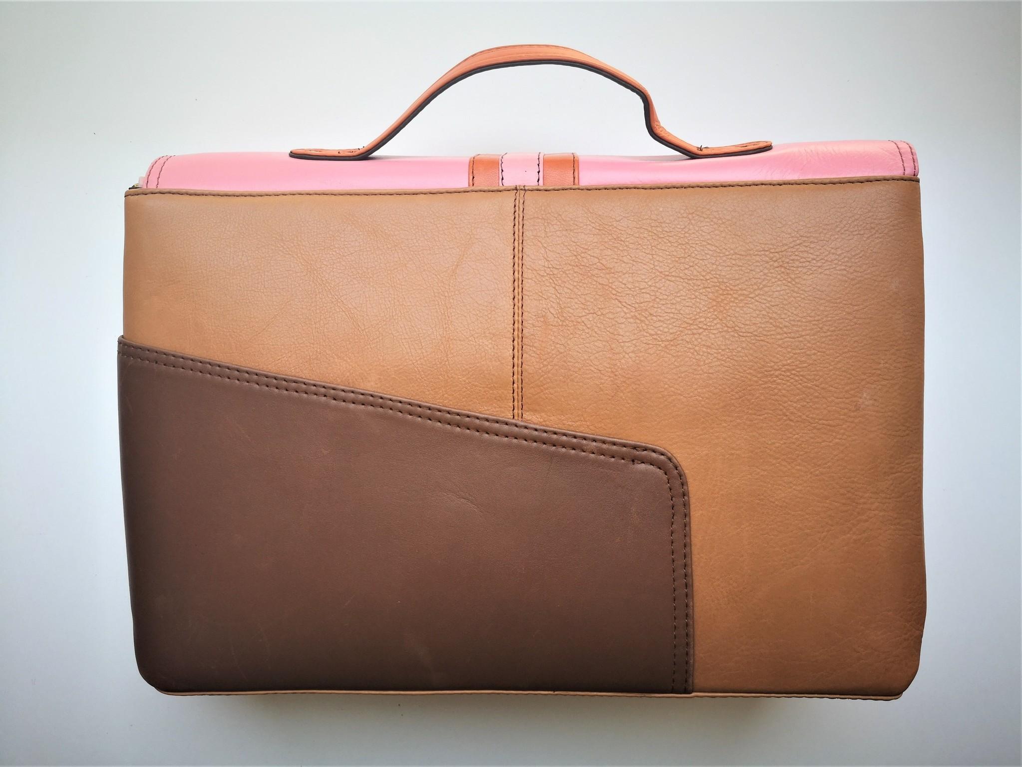 Gerecycleerde Handtas - Orleans Leather Bag Roos/Oranje-2
