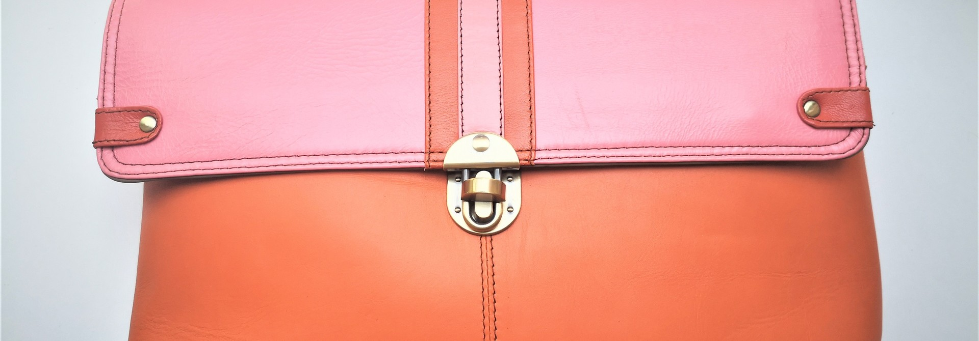 Gerecycleerde Handtas - Orleans Leather Bag Roos/Oranje