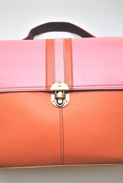 Gerecycleerde Handtas - Orleans Leather Bag Roos/Oranje