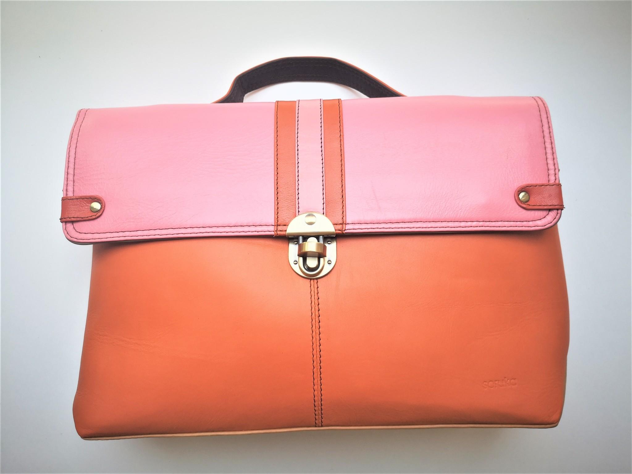 Gerecycleerde Handtas - Orleans Leather Bag Roos/Oranje-1