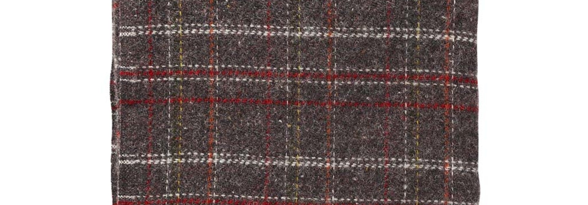 Wollen Plaid SQUARE BROWN/RED
