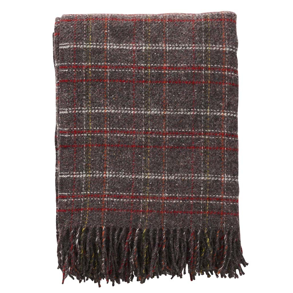 Wollen Plaid SQUARE BROWN/RED-1