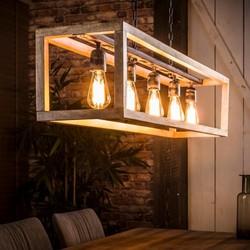 Hanglamp 5L Rechthoek houten frame