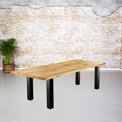 Massief eiken tafel | rechte rand met N-poot