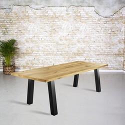 Massief eiken tafel |  rechte rand en A-poot zonder ligger