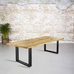 Massief eiken tafel |  rechte rand en U-poot uit koker