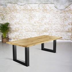 Massief eiken tafel |  rechte rand en U-poot