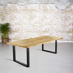 Massief eiken tafel |  rechte rand en dunne U-poot
