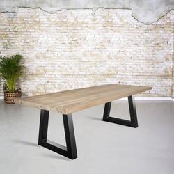 Massief oud eiken tafel |  Trapezium poot