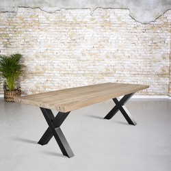 Massief oud eiken tafel |  X-poot