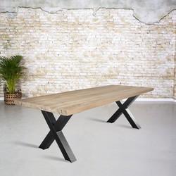 Massief oud eiken tafel |  X-poot