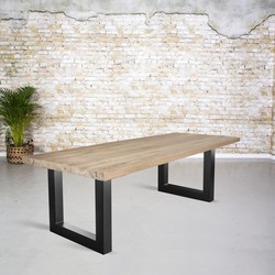 Massief oud eiken tafel |  U-poot