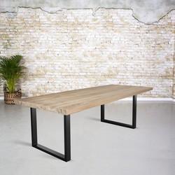 Massief oud eiken tafel | dunne U-poot