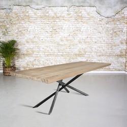 Massief oud eiken tafel | mikado onderstel