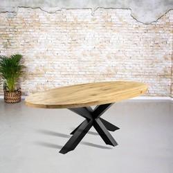 Massief eiken tafel ovaal |  3D tafelpoot