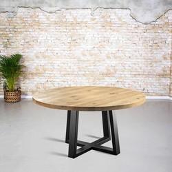 Massief eiken tafel rond| Trapezium spinpoot