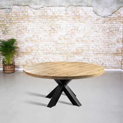 Massief eiken tafel rond| 3D tafelpoot vierkant