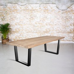Massief oud eiken tafel |  V-poot trapezium