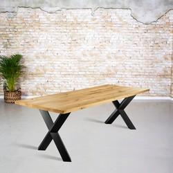 Massief eiken tafel |  rechte rand en X-poot gedraaide koker