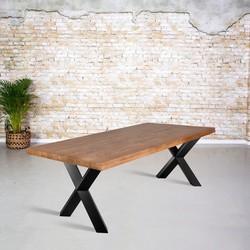 Eetkamertafel mangohout |  X-poot gedraaide koker