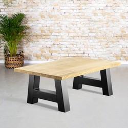Massief eiken salontafel | rechte rand | A-poot