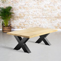 Massief eiken salontafel | rechte rand | X-poot