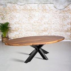 Eetkamertafel mangohout ovaal | 3D tafelpoot