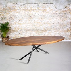 Eetkamertafel mangohout ovaal | mikado onderstel