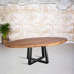 Eetkamertafel mangohout ovaal | spinpoot vierkant