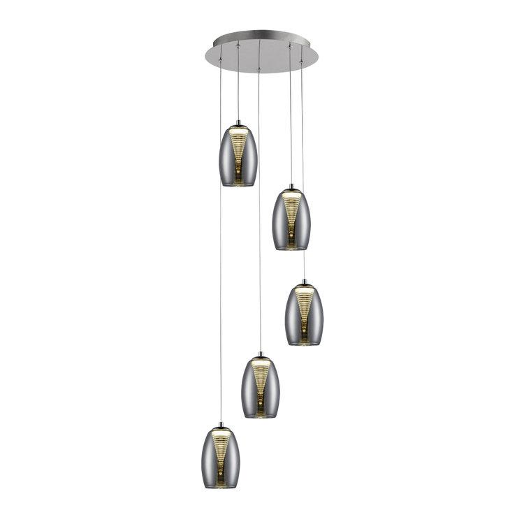 Brilliant Metropolis 5 Light Pendant LED 5W Smoke Glass Easy Dim
