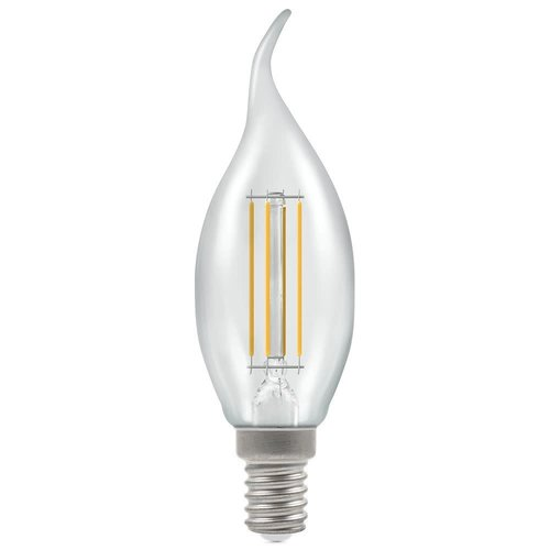 Crompton LED Bent Tip Candle Filament Dimmable Clear 5W 2700K SES-E14