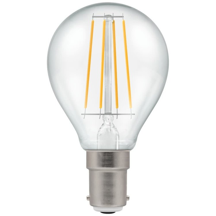 Crompton LED Round Filament Dimmable Clear 5W 2700K SBC-B15d