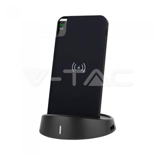 V-Tac V-Tac 8000mAh Power Bank with Wireless Charger & Display Black Lamp Stand Black
